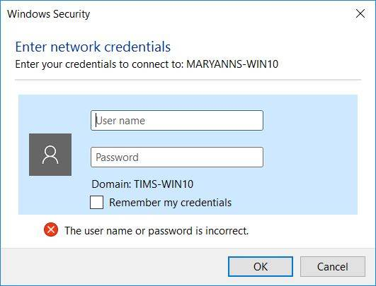 network credentials